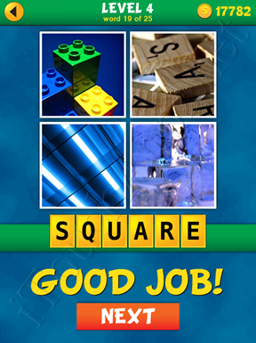4 Pics 1 Word Puzzle - What's That Word Level 4 Word 19 Solution