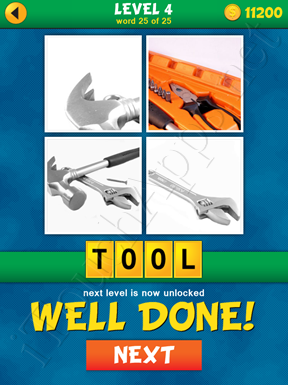 4 Pics 1 Word Puzzle - What's That Word Level 4 Word 25 Solution