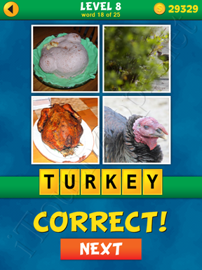 4 Pics 1 Word Puzzle - What's That Word Level 8 Word 18 Solution