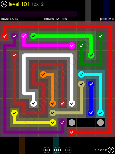 Flow Game 12x12 Mania Pack Level 101 Solution
