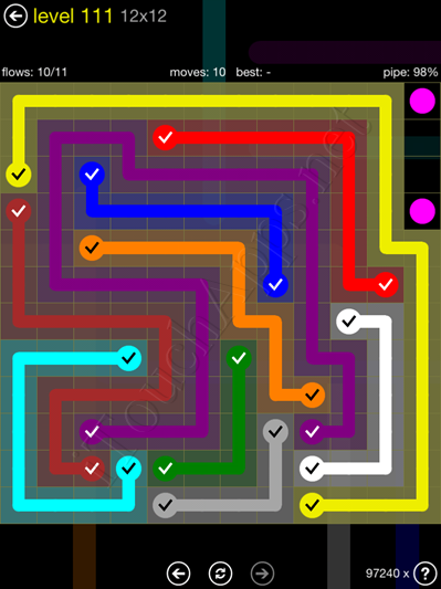 Flow Game 12x12 Mania Pack Level 111 Solution