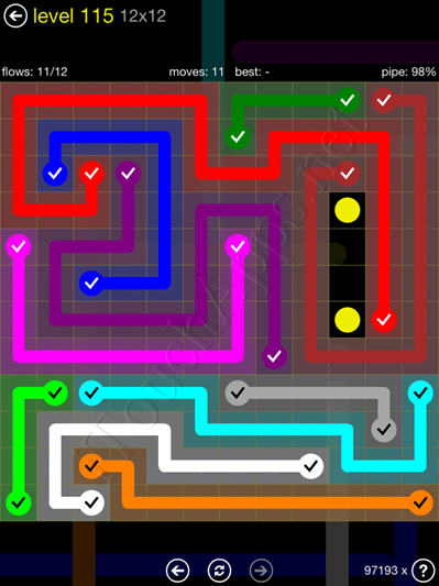 Flow Game 12x12 Mania Pack Level 115 Solution