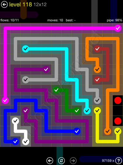 Flow Game 12x12 Mania Pack Level 118 Solution