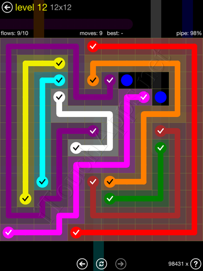 Flow Game 12x12 Mania Pack Level 12 Solution