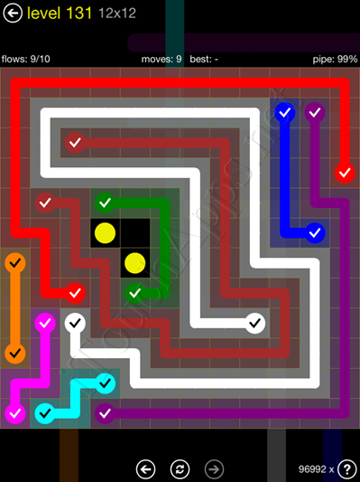 Flow Game 12x12 Mania Pack Level 131 Solution
