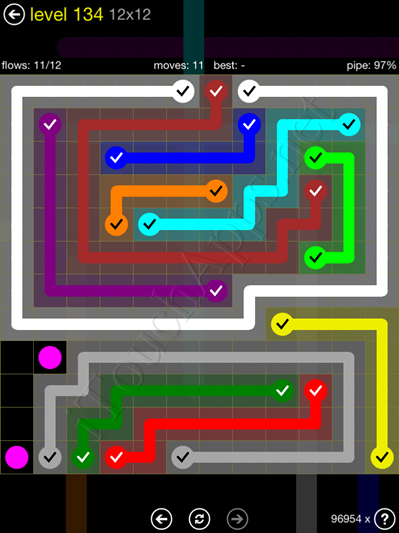 Flow Game 12x12 Mania Pack Level 134 Solution