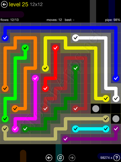 Flow Game 12x12 Mania Pack Level 25 Solution