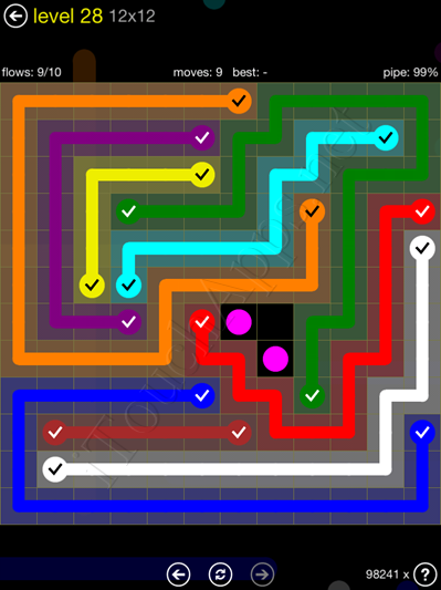 Flow Game 12x12 Mania Pack Level 28 Solution