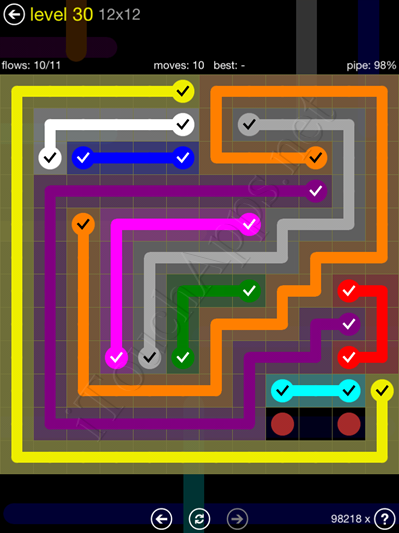 Flow Game 12x12 Mania Pack Level 30 Solution