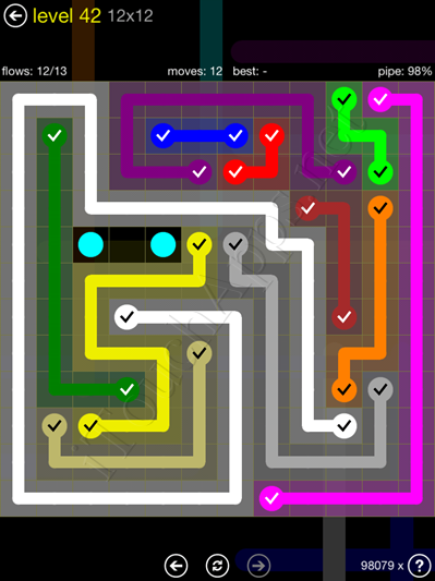 Flow Game 12x12 Mania Pack Level 42 Solution