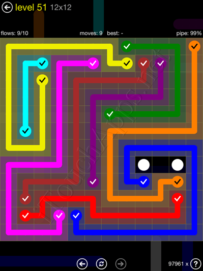 Flow Game 12x12 Mania Pack Level 51 Solution