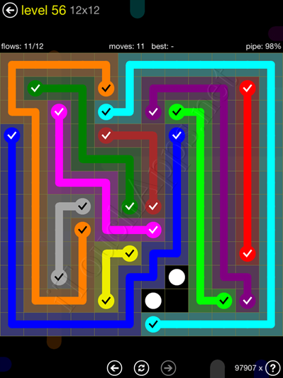 Flow Game 12x12 Mania Pack Level 56 Solution