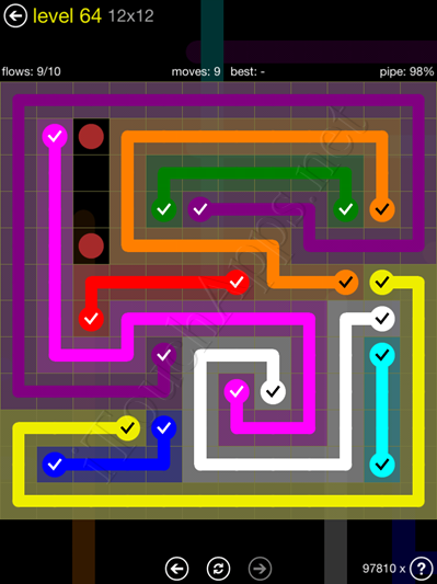 Flow Game 12x12 Mania Pack Level 64 Solution