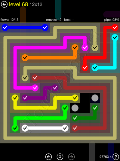 Flow Game 12x12 Mania Pack Level 68 Solution