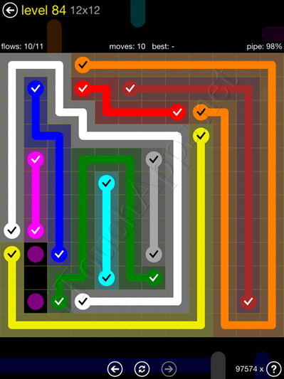 Flow Game 12x12 Mania Pack Level 84 Solution