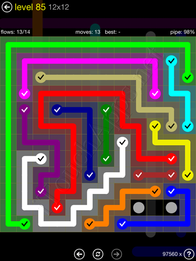 Flow Game 12x12 Mania Pack Level 85 Solution