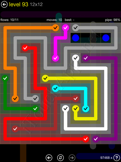 Flow Game 12x12 Mania Pack Level 93 Solution