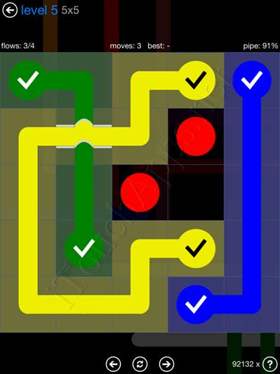 Flow Bridges Blue Pack 5x5 Level 5 Solution