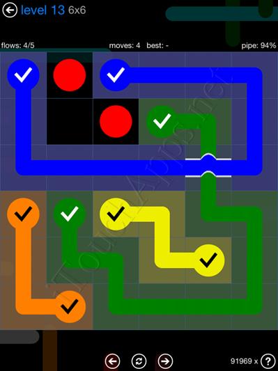 Flow Bridges Blue Pack 6x6 Level 13 Solution