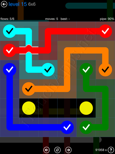 Flow Bridges Blue Pack 6x6 Level 15 Solution