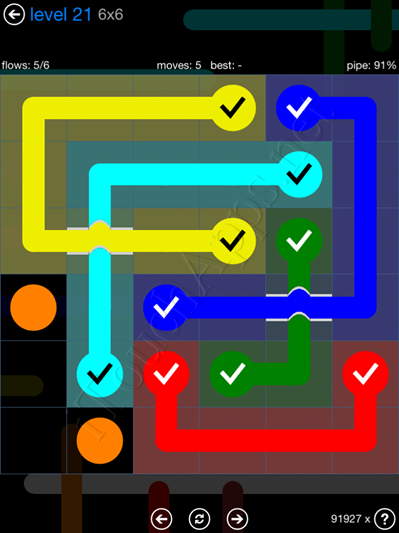Flow Bridges Blue Pack 6x6 Level 21 Solution