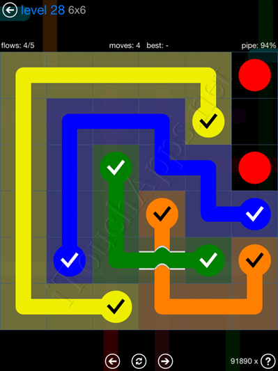 Flow Bridges Blue Pack 6x6 Level 28 Solution