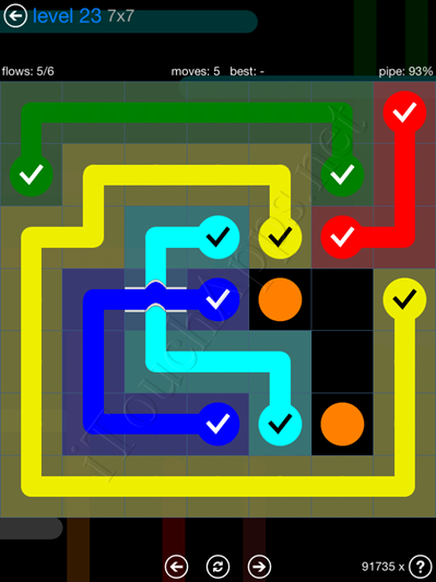 Flow Bridges Blue Pack 7x7 Level 23 Solution