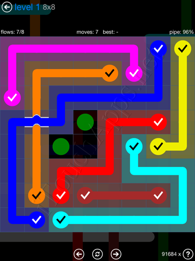 Flow Bridges Blue Pack 8x8 Level 1 Solution