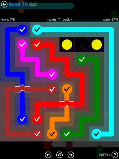 Flow Bridges Blue Pack 8x8 Level 16 Solution