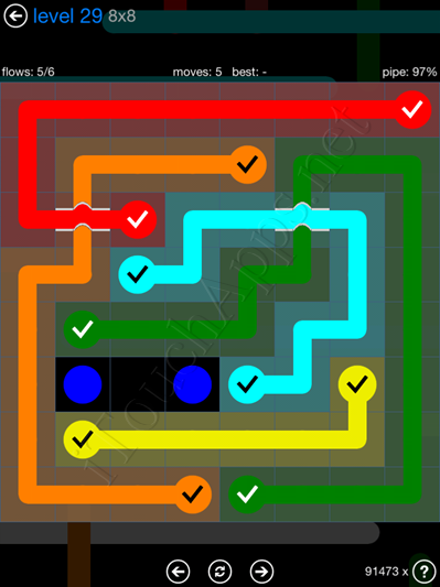 Flow Bridges Blue Pack 8x8 Level 29 Solution