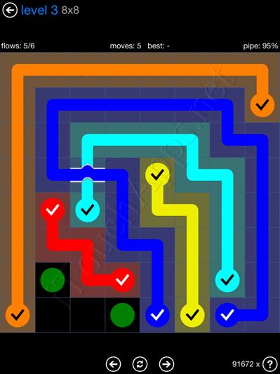 Flow Bridges Blue Pack 8x8 Level 3 Solution