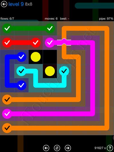 Flow Bridges Blue Pack 8x8 Level 9 Solution