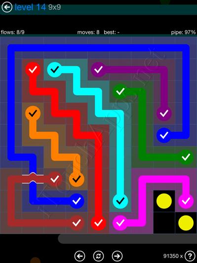 Flow Bridges Blue Pack 9x9 Level 14 Solution