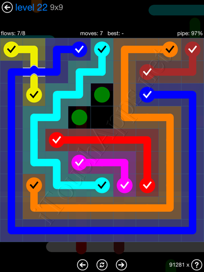 Flow Bridges Blue Pack 9x9 Level 22 Solution