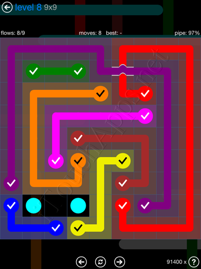Flow Bridges Blue Pack 9x9 Level 8 Solution