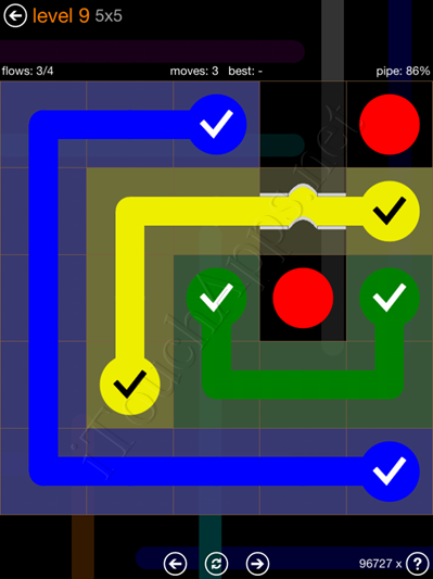 Flow Bridges Pack 5 x 5 Level 9 Solution