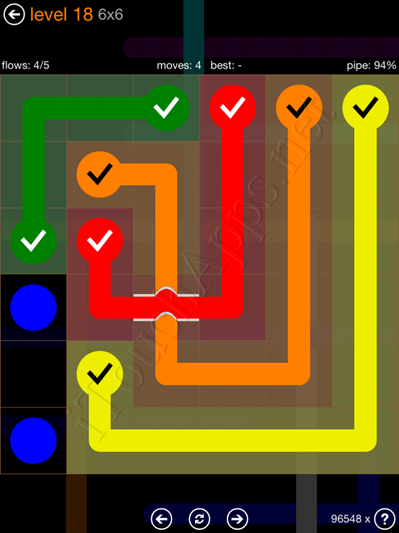 Flow Bridges Pack 6 x 6 Level 18 Solution