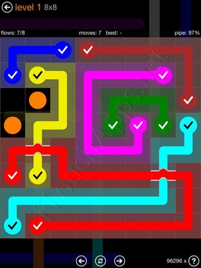Flow Bridges Pack 8 x 8 Level 1 Solution