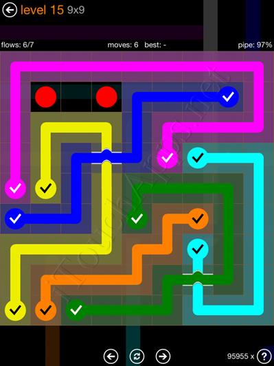 Flow Bridges Pack 9 x 9 Level 15 Solution
