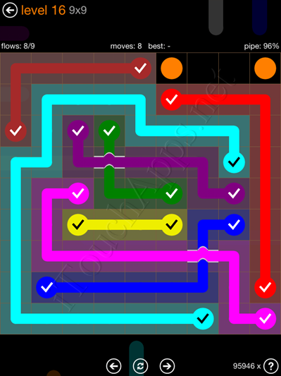 Flow Bridges Pack 9 X 9 Level 16 Solution