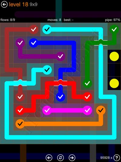 Flow Bridges Pack 9 x 9 Level 18 Solution
