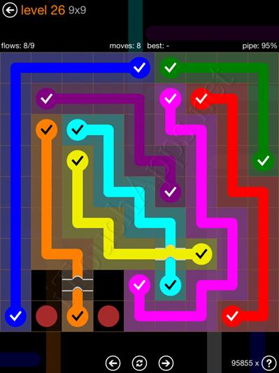 Flow Bridges Pack 9 x 9 Level 26 Solution