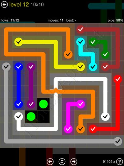 Flow Bridges Yellow Pack 10x10 Level 12 Solution