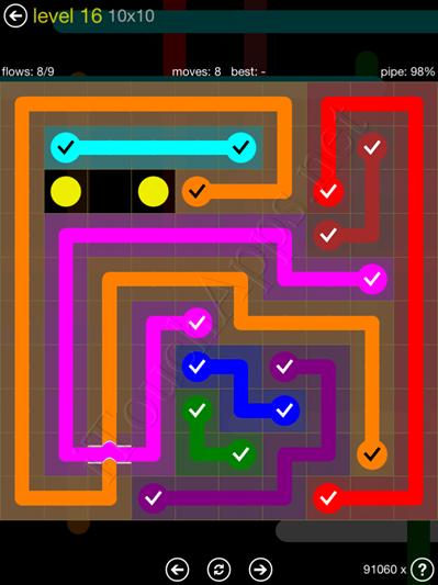 Flow Bridges Yellow Pack 10x10 Level 16 Solution