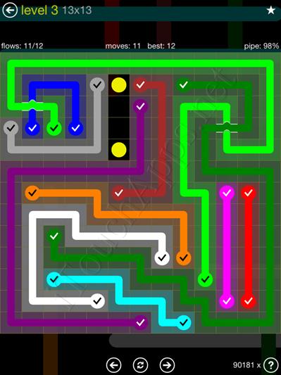 Flow Bridges Yellow Pack 13x13 Level 3 Solution