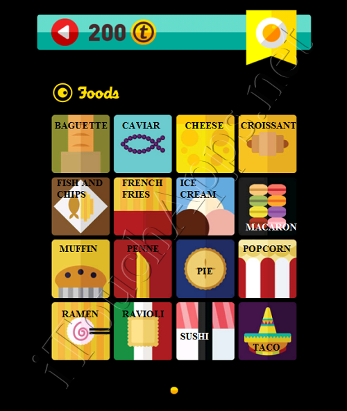 Icon Pop Quiz Game Weekend Specials Foods Answers / Solutions