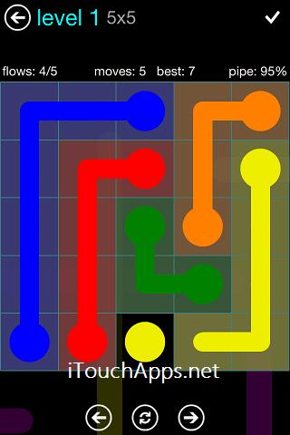 Flow Blue Pack 5 x 5 Level 1 Solution
