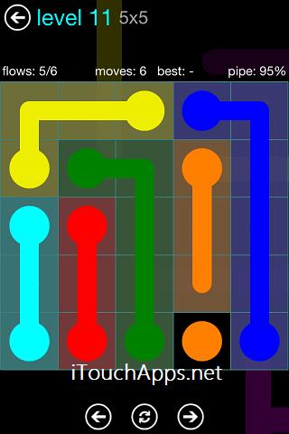Flow Blue Pack 5 x 5 Level 11 Solution