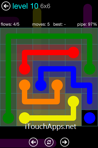 Flow Blue Pack 6 x 6 Level 10 Solution