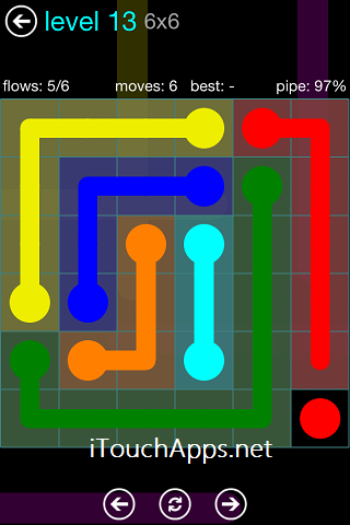 Flow Blue Pack 6 x 6 Level 13 Solution